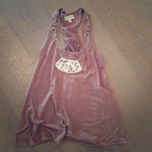 Alythea Anthropologie Brown tank Bibb necklace sm